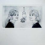 """El grabado """"La campana"""", fue realizado en la técnica de grabado punta seca sobre acrílico, realizado en el año 2020. Mide 31x29cm.Este grabado está inspirado en el libro La campana de cristal de Sylvia Plath."""