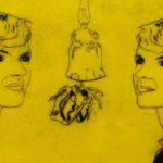 """EL grabado """"Plath y la campana"""" fue realizado con la técnica punta seca sobre acrílico. Es la misma placa del grabado """"La campana"""" pero con una variación en el formato y en el color. Del año 2020. Mide 35 x 24 cm."""